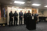 Milwaukee Police Chief Alfonso Morales, center, speaks at an evening press conference Wednesday, Feb. 6, 2019 about the officer who was shot and killed serving a search warrant earlier in the day. Photo by Corri Hess/WPR.