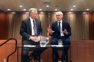 Journalist Mike Gousha and Gov. Tony Evers at Marquette University Tuesday, Feb. 19, 2019. Photo by Corri Hess/WPR.