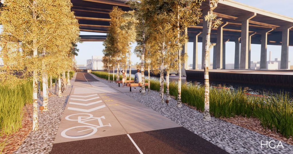 Menomonee Valley RiverWalk. Rendering by HGA.
