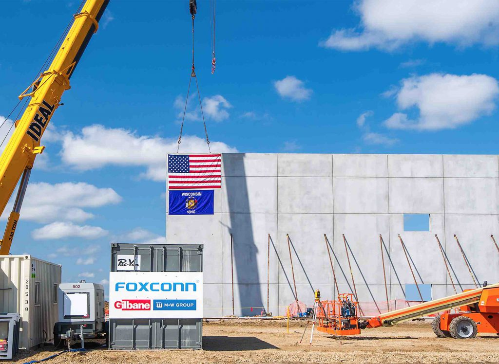 After the official groundbreaking ceremony at the Foxconn site in Mount Pleasant on June 28, 2018, work commenced on developing the campus, with the first vertical constructing beginning by September. Photo from Racine County/Village of Mount Pleasant/Racine County Economic Development Corp.