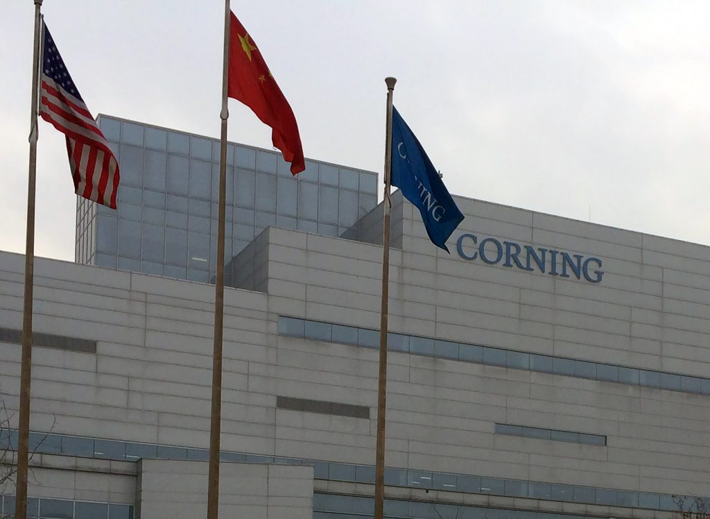 As seen in January 2017, a Corning glass factory is situated across the street from a BOE LCD fab (Gen 8.5) in Beijing. Photo courtesy of Willy Shih/WisContext.