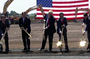 "On June 28, 2018, the first Wisconsin Foxconn employee C.P. ""Tank"" Murdoch, Wisconsin Governor Scott Walker, President Donald Trump, Foxconn CEO Terry Gou and U.S. House Speaker Paul Ryan conducted the ceremonial groundbreaking at the Foxconn campus in Mount Pleasant. Photo from The White House."