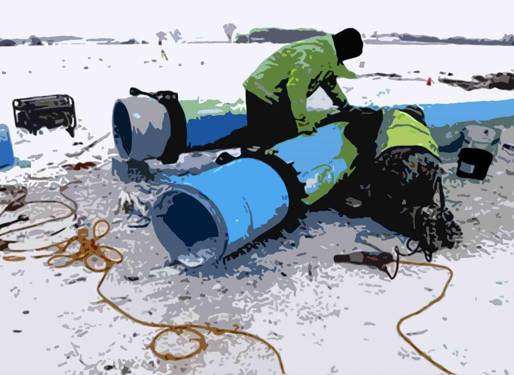 Illustration by Kristian Knutsen; image via Advance Construction Inc./Racine Water Utility.
