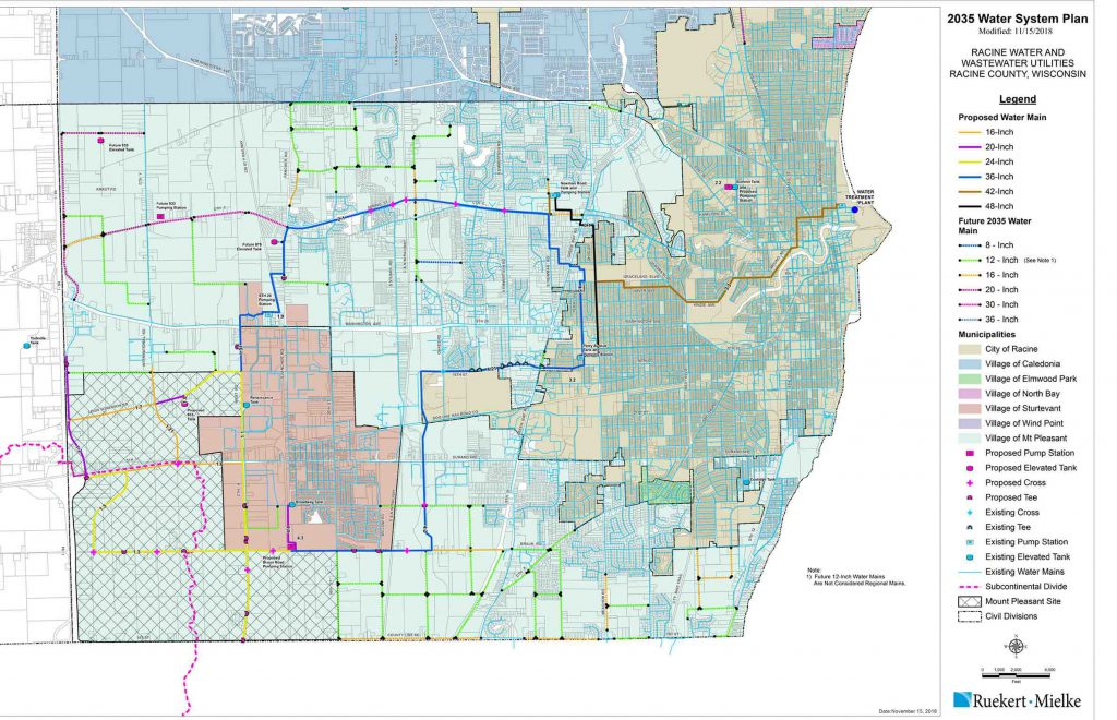 A November 2018 map of water infrastructure improvements in Racine and Mount Pleasant shows existing and proposed structures. Map from the Racine Water Utility.