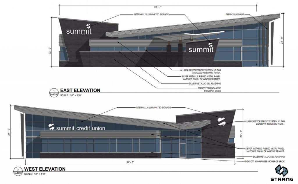 Summit Credit Union Design. Drawing by Strang Inc.
