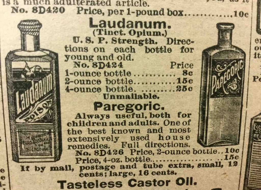 Laudanum, a tincture of opium, was among the products for sale in the 1905 edition of the Sears catalog. Photo by Mike Mozart (CC BY 2.0).