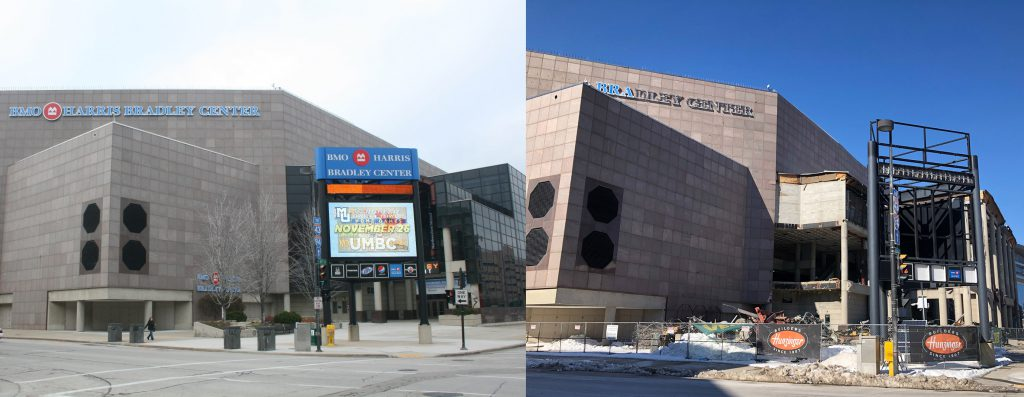 Bradley Center in 2014 and 2019. Photos by Jeramey Jannene.