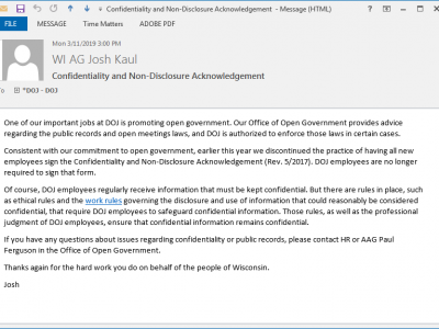 "AG Kaul Ends Use of ""Confidentiality and Non-Disclosure Acknowledgement"" Form at DOJ"