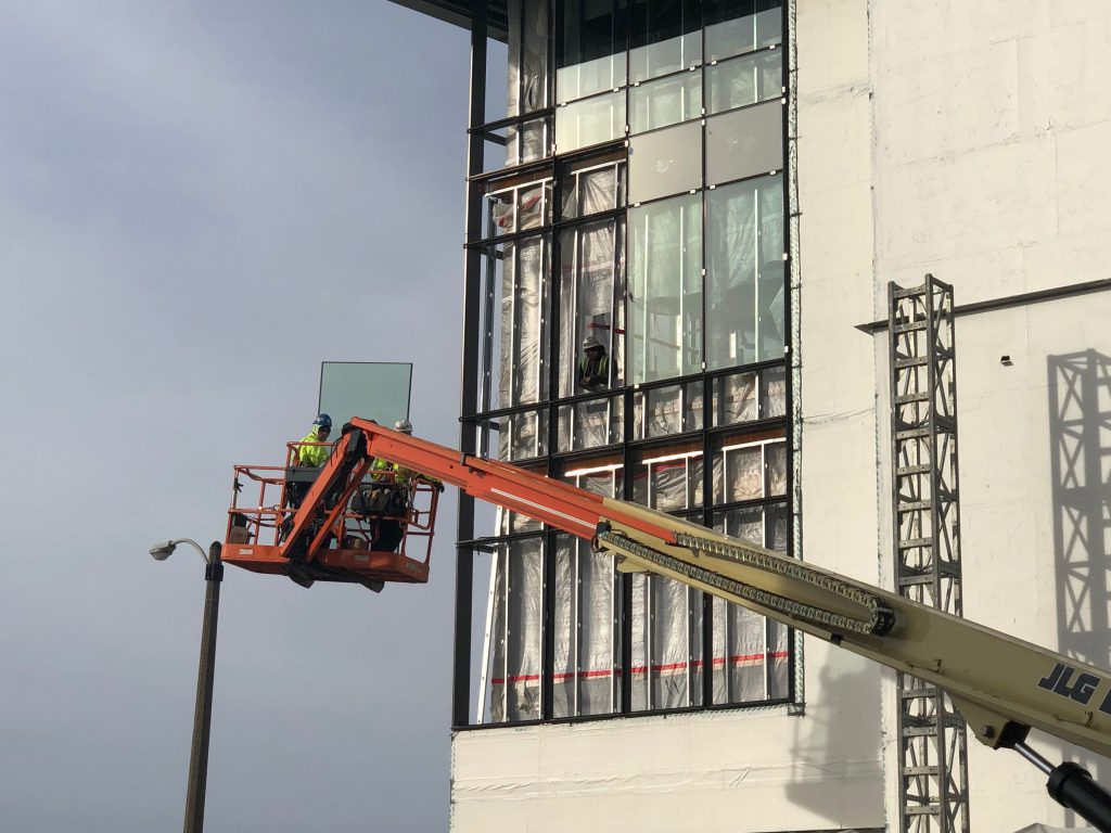 Glass lift at the Physician Assistant Studies Building. Photo by Jeramey Jannene.