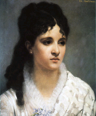 Composer Mélanie Bonis - painting by Charles Auguste Corbineau