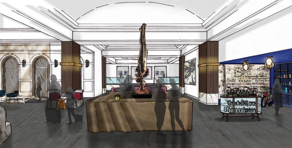 Saint Kate Arts Hotel Rendering Lobby. Rendering by Stonehill Taylor.