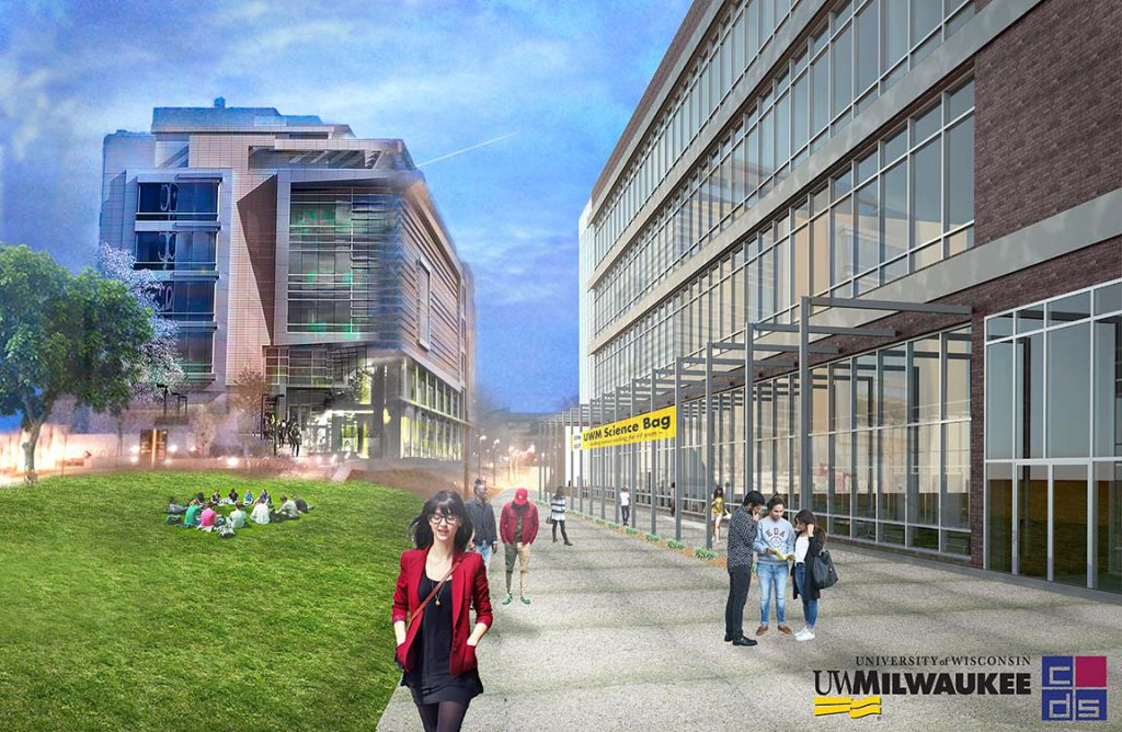 North facade of the proposed UWM Chemistry Building. Rendering by Community Design Solutions.