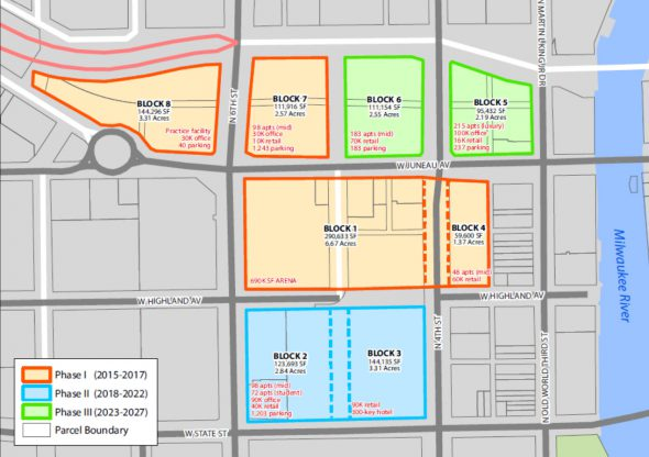 Arena deal parcels. Image from City of Milwaukee.