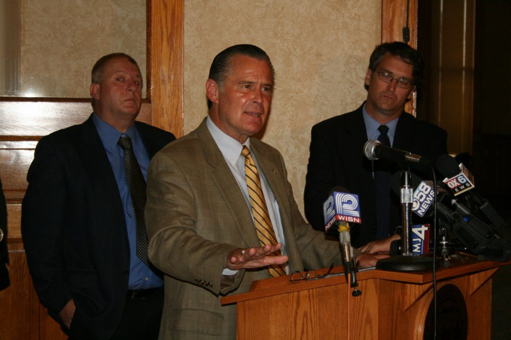Bob Donovan speaking at a 2012 press conference. Photo by Jeramey Jannene.