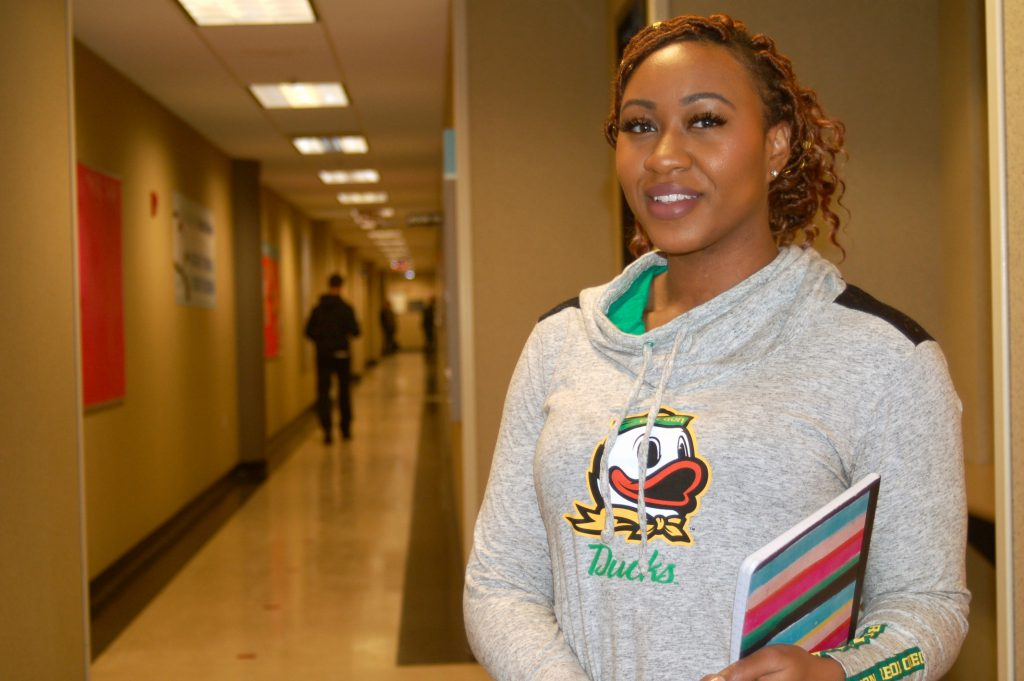 """Carissa Peters, 27, is an adult Promise student at MATC. She is grateful for the program, which provides free tuition. Before she was accepted, she """"had to work and go to school, which was tough because my classes were so demanding."""" (Photo by Edgar Mendez)"""