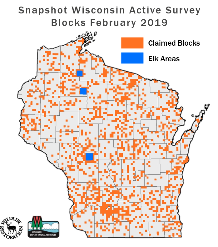 This map shows every Wisconsin Department of Natural Resources survey block that contains at least one Snapshot Wisconsin trail camera as of February 2019. The DNR's goal is to have at least one trail camera in each of the 6,273 survey blocks around the state, with a near-term goal of 25 percent coverage. Snapshot Wisconsin/Wisconsin DNR.