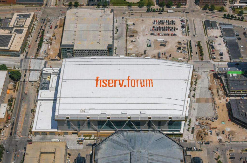 Fiserv Forum rooftop sign. Rendering by Jones Sign Company.