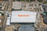 Fiserv Forum rooftop sign. Rendering by Jones Sign Company.
