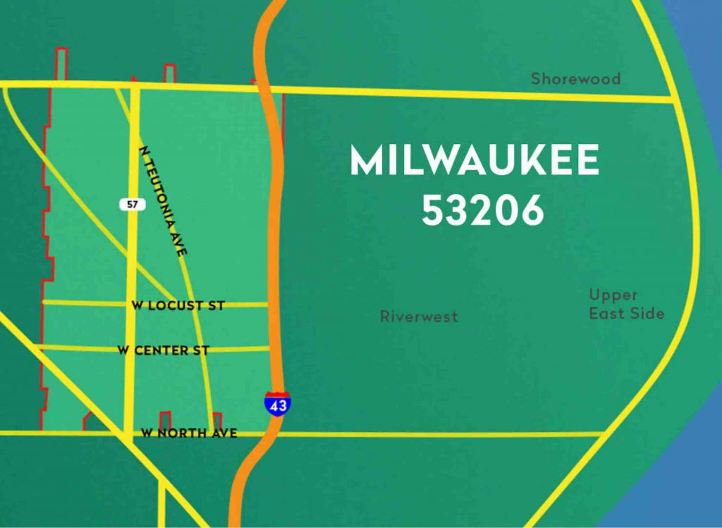 The 53206 zip code encompasses a portion of the north side of Milwaukee, and is located west of I-43. Map from Wisconsin Public Television.
