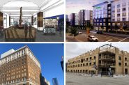 New hotels coming to downtown MIlwaukee. Clockwise from top left, rendering by Marcus Corp, rendering by Base4, photos by Jeramey Jannene.