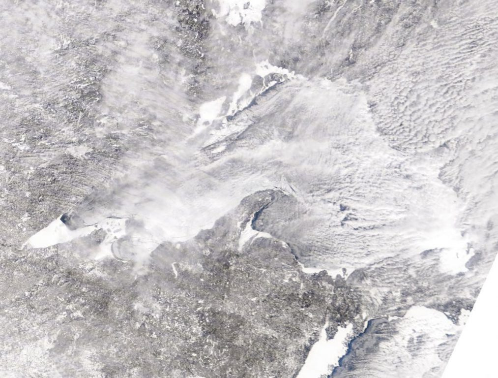 A satellite image of Lake Superior ice cover on March 4, 2019. Photo courtesy of NOAA