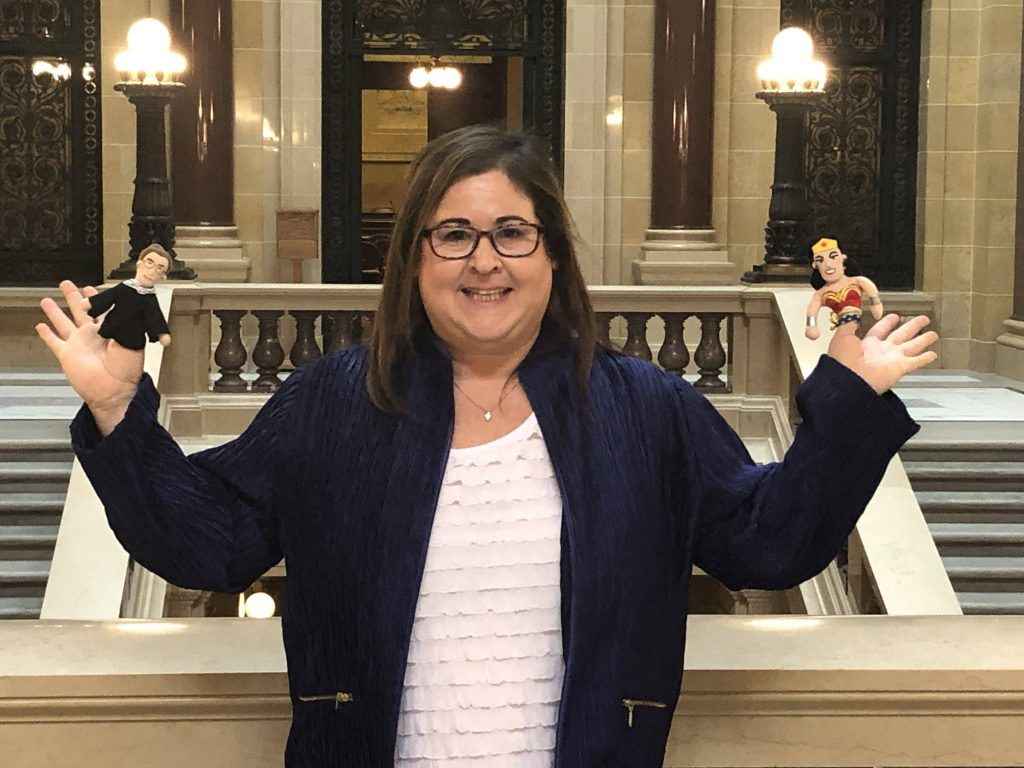 Rep. Lisa Subeck with Ruth Bader Ginsberg and Wonder Woman puppets. Photo from office of Rep. Subeck.