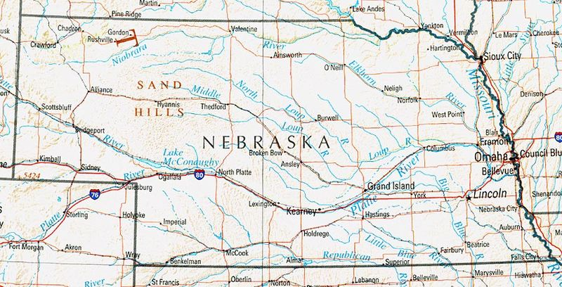 Nebraska map. Perry Castaneda Library [Public domain]