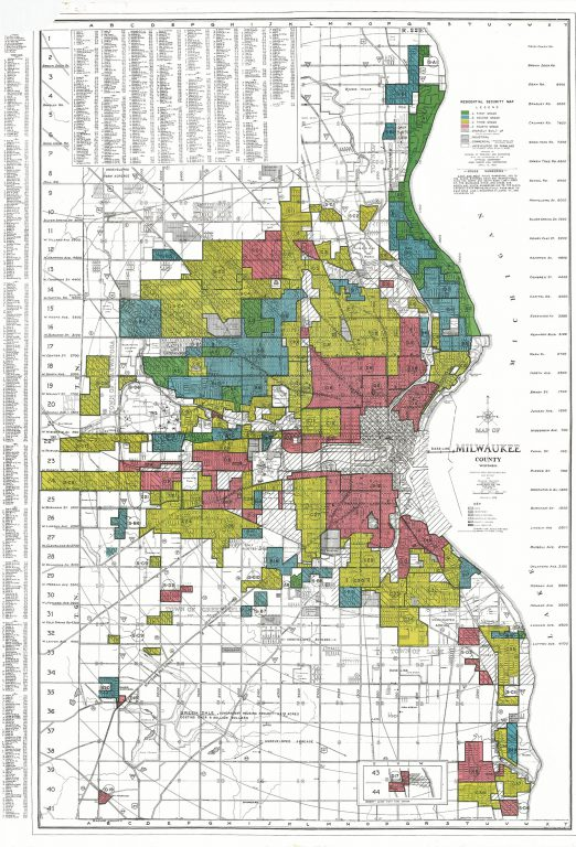 A 1938 map of Milwaukee depicts how the Home Owners' Loan Corporation graded neighborhoods in Milwaukee. From the National Archives.