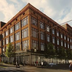 Conceptual rendering of redevelopment of Schuster's Department Store (Engberg Anderson Architects).