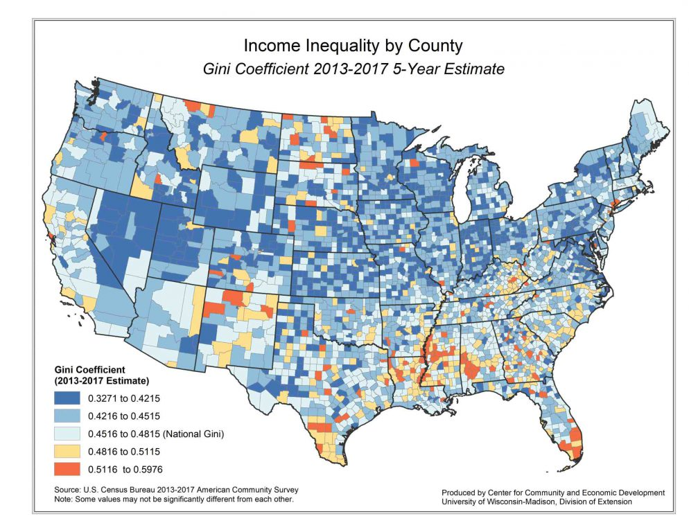 Income inequality, as measured by the Gini coefficient, varies by county across the U.S., with more acute levels more common in portions of the South and scattered in other states. The counties are color-coded based on the national average Gini coefficient. Map from the UW Center for Community and Economic Development.