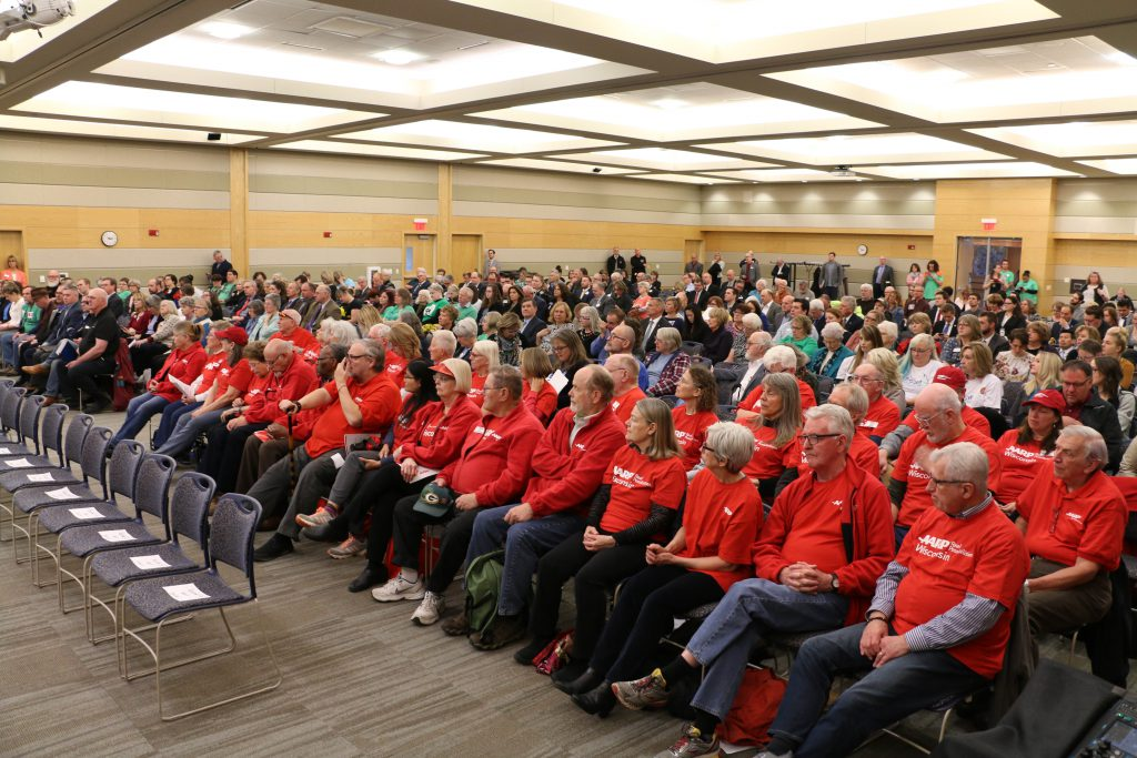 People fill the room of a state Legislature's Joint Finance Committee public hearing on the state budget Monday, April 15, 2019 in River Falls. Photo by Rich Kremer/WPR.