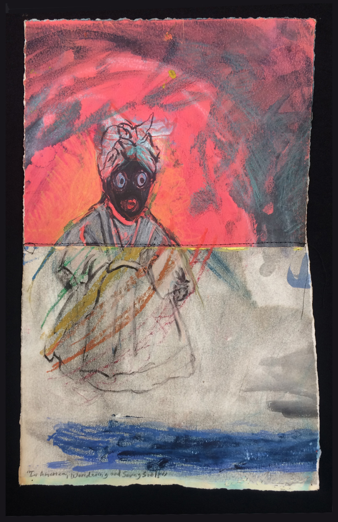 """In America, Wandering and Saving Souls, 2018. Pastel, ink, thread, acrylic paint on rag paper, 15 3/8"""" x 10 3/4"""" (unframed). Photo by Fonde Patrice Bridges with Dean Johnson."""