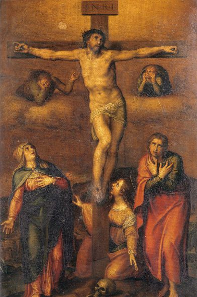 Michelangelo - Crucifixion for Vittoria Colonna (1540). Image is in the Public Domain.