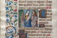 French, Leaf with a Miniature of the Flight into Egypt from a Book of Hours, ca. 1475. Ink, tempera, and gold leaf on vellum. Collection of Miles Vilski.