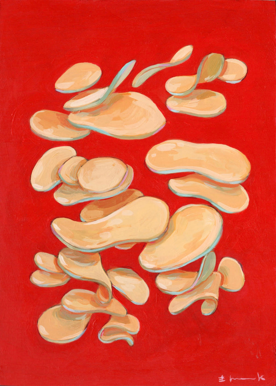 "ric Hancock, Figure No.02 – Chips, Acrylic on Cradled Board, 5"" x 7"", 2019. Courtesy of the artist."