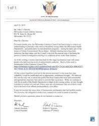 Letter to District Attorney regarding Health Department.