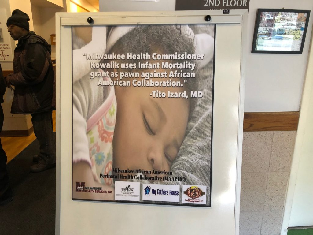 Board on display in Milwaukee Health Services lobby. Photo by Jeramey Jannene.