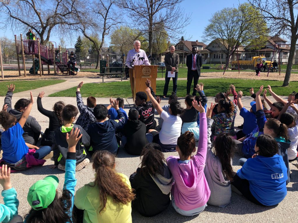 Mayor Tom Barrett asks questions of students from Zablocki Community School. Photo by Jeramey Jannene.