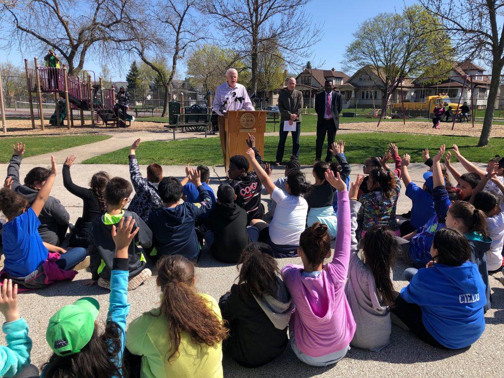 Mayor Tom Barrett asks questions of students from Zablocki Community School. Photo by Jeramey Jannene.