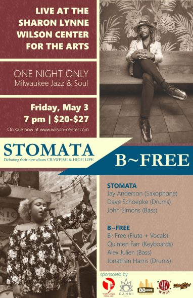 Stomata will be performing an album release show with B~Free at the Sharon Lynne Wilson Center for the Arts at 7 pm on May 3.