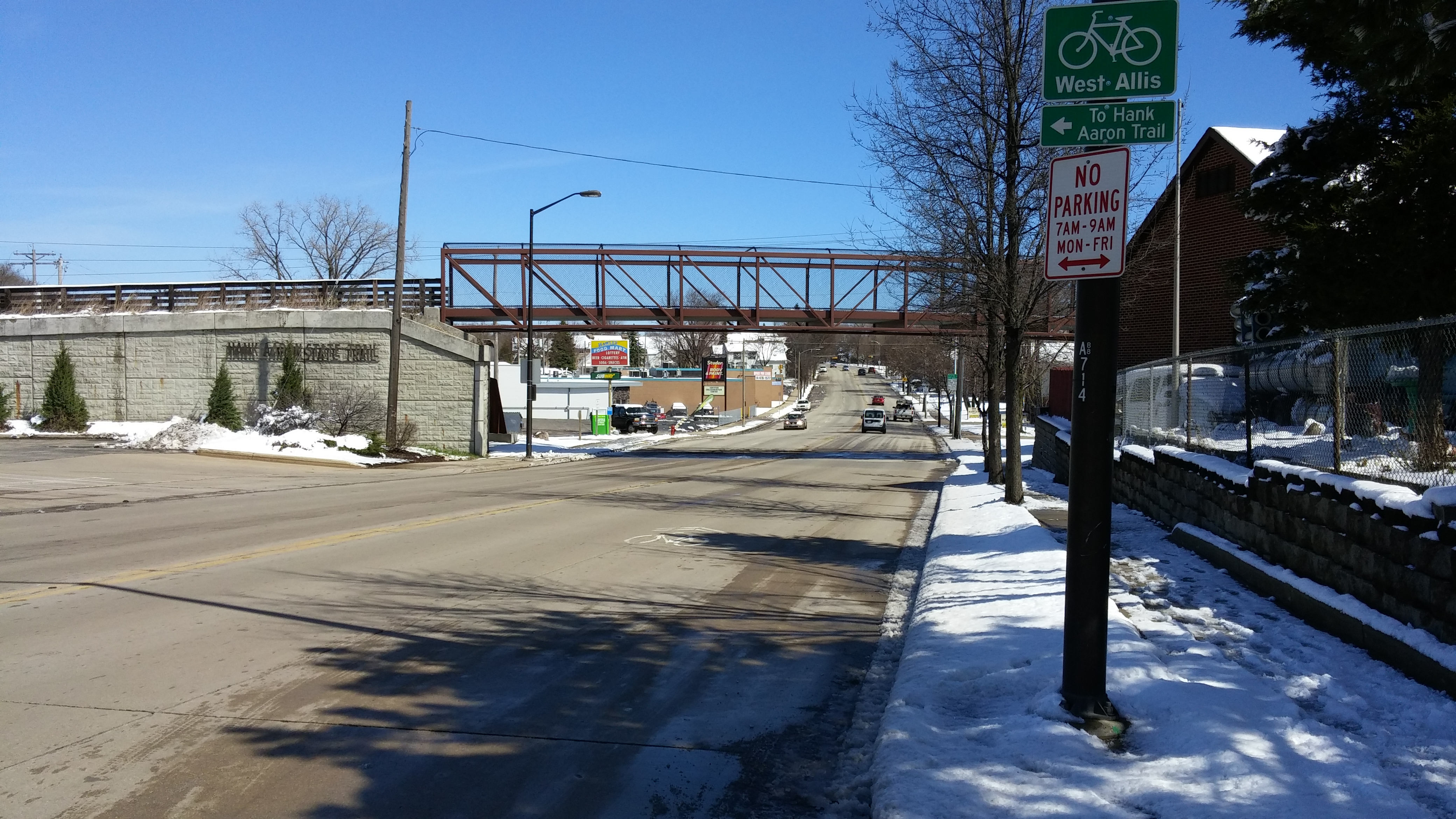 The south end of Hawley Road begins at the Hank Aaron State Trail and S. 60th Street. Photo taken April 15th, 2019 by Carl Baehr.