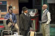 Sterling (Chiké Johnson), West (Doug Brown) and Holloway (Michael Anthony Williams) in Milwaukee Repertory Theater's production of August Wilson's Two Trains Running April 16 – May 12, 2019. Photo by Mikki Schaffner.