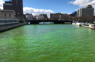 The Milwaukee River Turned Green for the Bucks. Photo by Jeramey Jannene.