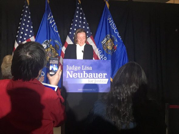 State Rep. Greta Neubauer, daughter of Wisconsin Supreme Court candidate Lisa Neubauer, announced the race is too close to call on Tuesday night. Photo by Corri Hess/WPR.