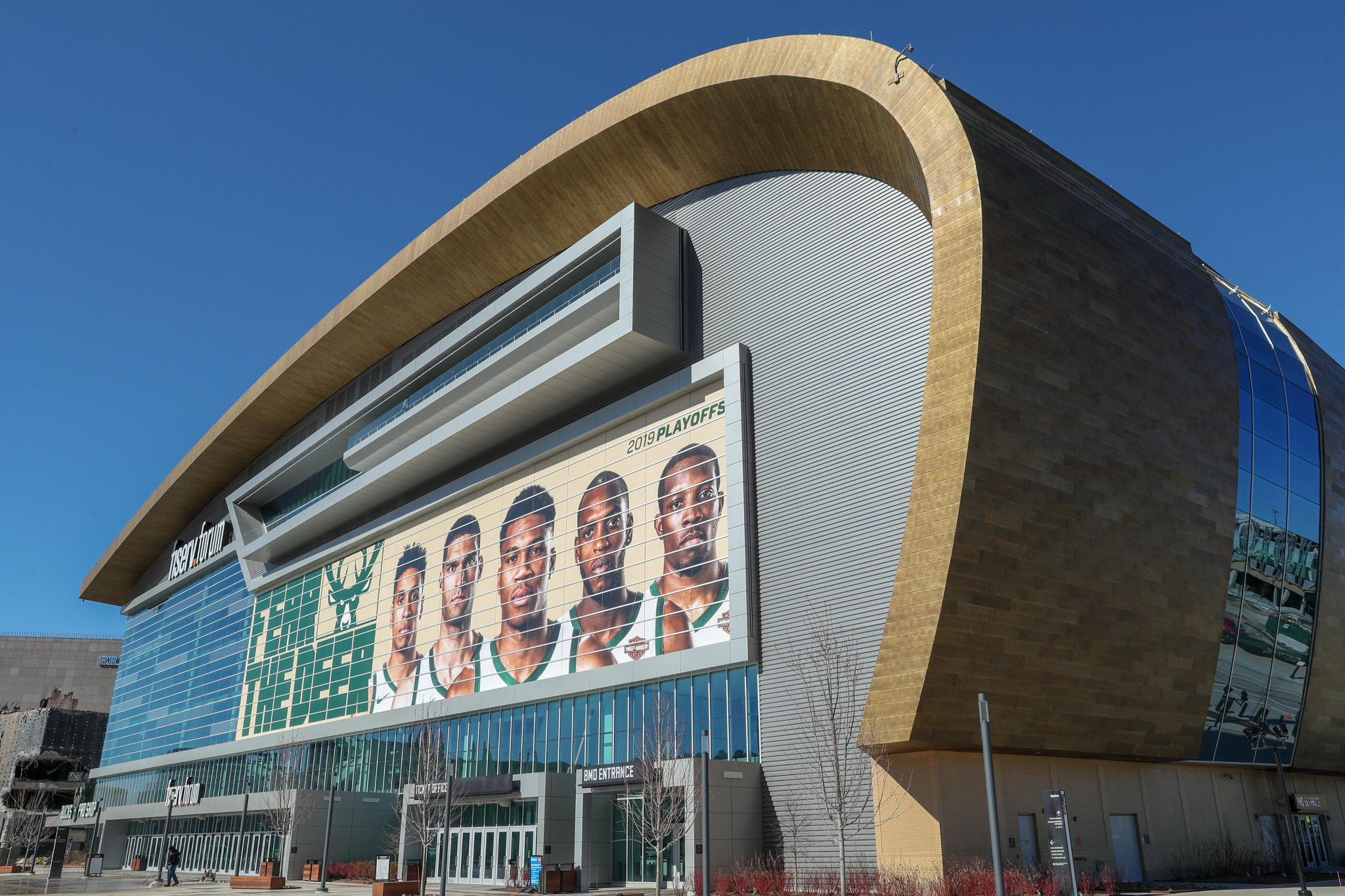 Fiserv Forum with Fear the Deer playoffs graphic. Image from the Milwaukee Bucks.