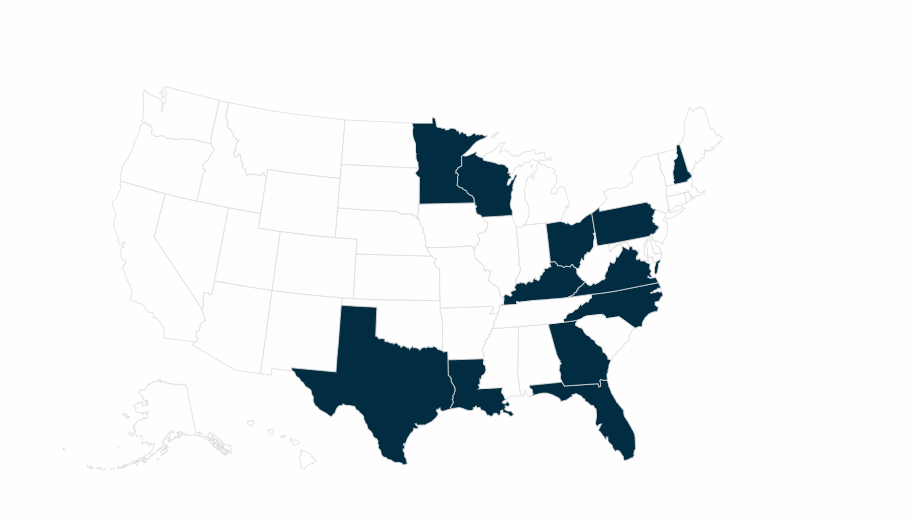 States that the National Democratic Redistricting Committee is targeting in 2019-2020,