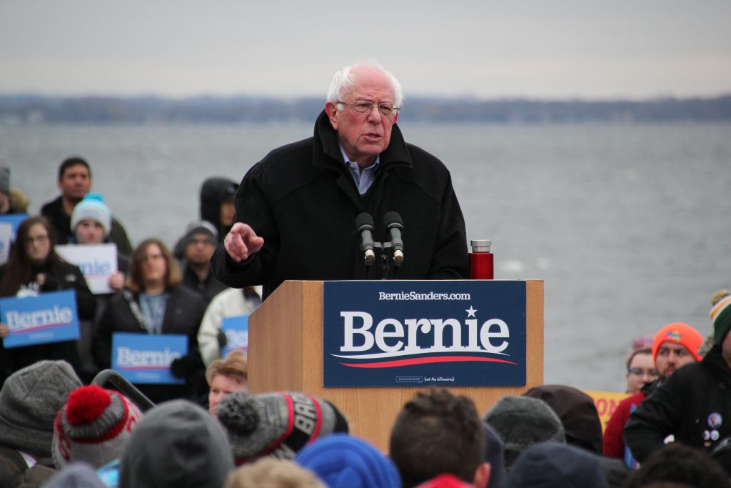 Vermont U.S. Sen. Bernie Sanders speaks to supporters Friday, April 12, 2019, at James Madison Park in Madison, Wis. Photo by Shawn Johnson/WPR.