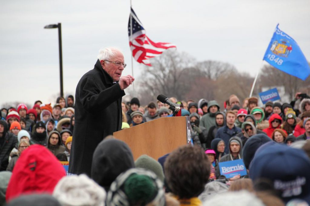 Vermont U.S. Sen. Bernie Sanders speaks to supporters Friday, April 12, 2019, at James Madison Park in Madison, Wis. It was Sanders' first stop in Wisconsin during his 2020 presidential campaign. He won Wisconsin's Democratic primary in 2016. Photo by Shawn Johnson/WPR.