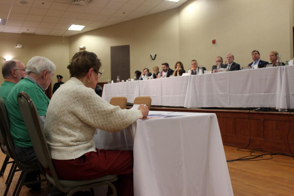 Joanne Kaus testifies at the first public hearing Friday, April 5, 2019 for Gov. Tony Evers' proposed state budget at the Pontiac Convention Center in Janesville, Wisconsin. Photo by Bridgit Bowden/WPR.