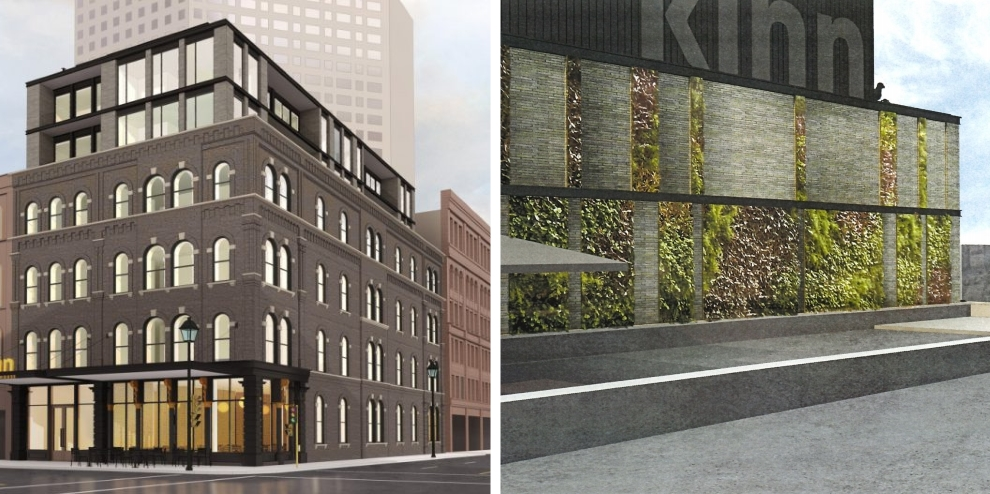 Kinn Hotel Living Wall plan. Renderings by Vetter Architects.